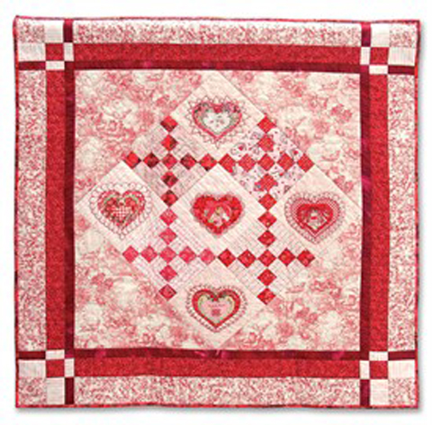 Embellished Hearts quilt pic larger