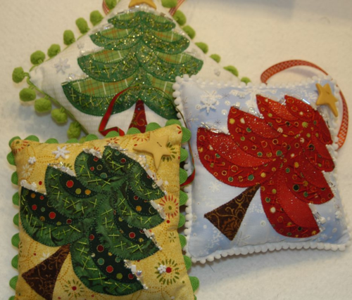 Trio of Snowy Tree ornaments